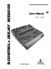 Behringer B-CONTROL DEEJAYBCD2000 DJ Equipment Manual (16 pages)